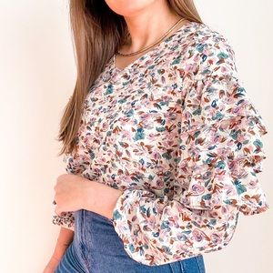 NWT Floral Ruffle Long Sleeve Top